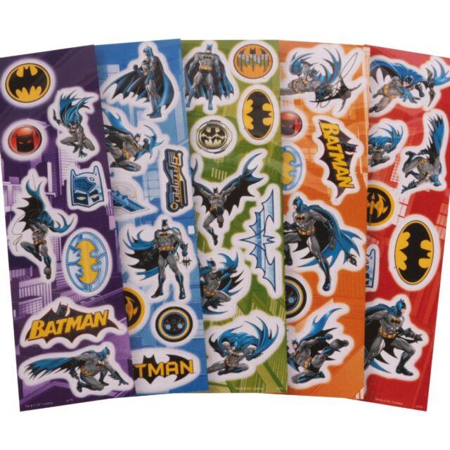 5x SHEETS OF REUSABLE BATMAN STICKERS Fun Superhero Cartoon Logo Card/Letter