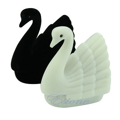 New Cute Velvet Cygnet Swan Ring Earring Necklace Jewelry Display Gift Box Case