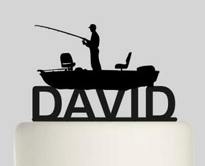 Swell Fishing Boat Personalised Acrylic Topper Birthday Cake Topper 319 Funny Birthday Cards Online Eattedamsfinfo