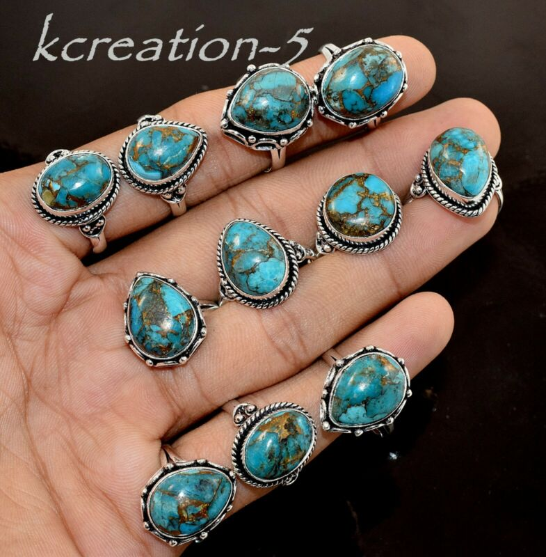Bulk Lot 100 Pcs. Natural Blue Copper Turquoise Gemstone 925 Silver Plated Rings