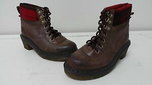 New-Womens-Dr-Marten-Frieda-Hiker-Heeled-Leather-Boots-Size-L6-Brown-109N