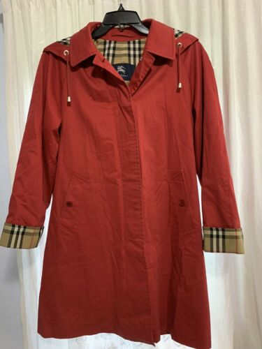 Burberry London Red Trench Coat Size 8 Detachable