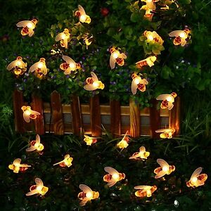 LED Honey Bee Solar String Lights Summer Garden Outdoor Decor Patio