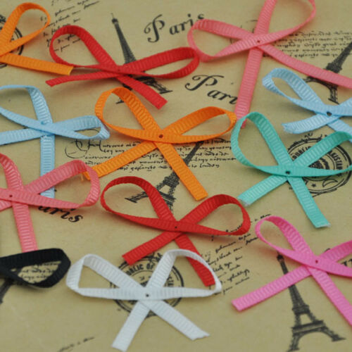 50 pcs Grosgrain Ribbon Bows Flowers Appliques Wedding Supplies Crafts E201