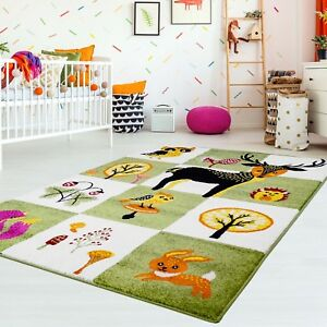 Details zu Kinderteppich Kinderzimmer Teppich Flachflor Tiere Reh Eule Igel  Kinderzimmer