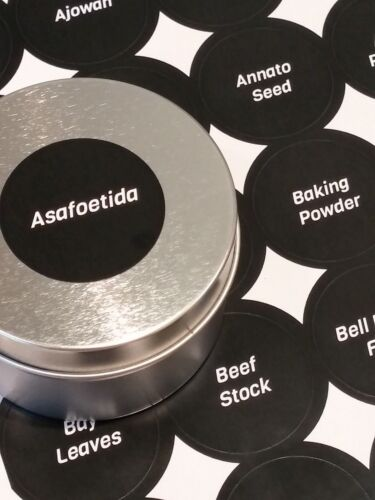 """1.5/"""" Round Black Spice Labels 150 Spices printed Choose Print Style"""