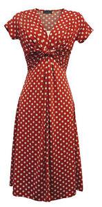 NEUF-femme-rouge-deco-pois-vintage-retro-Ww2-land-fille-Les-annees-1940-50