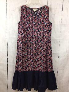 Mata-Traders-Size-Small-Dress-Blue-Coral-Geo-Print-Sleeveless-Drawstring-Waist
