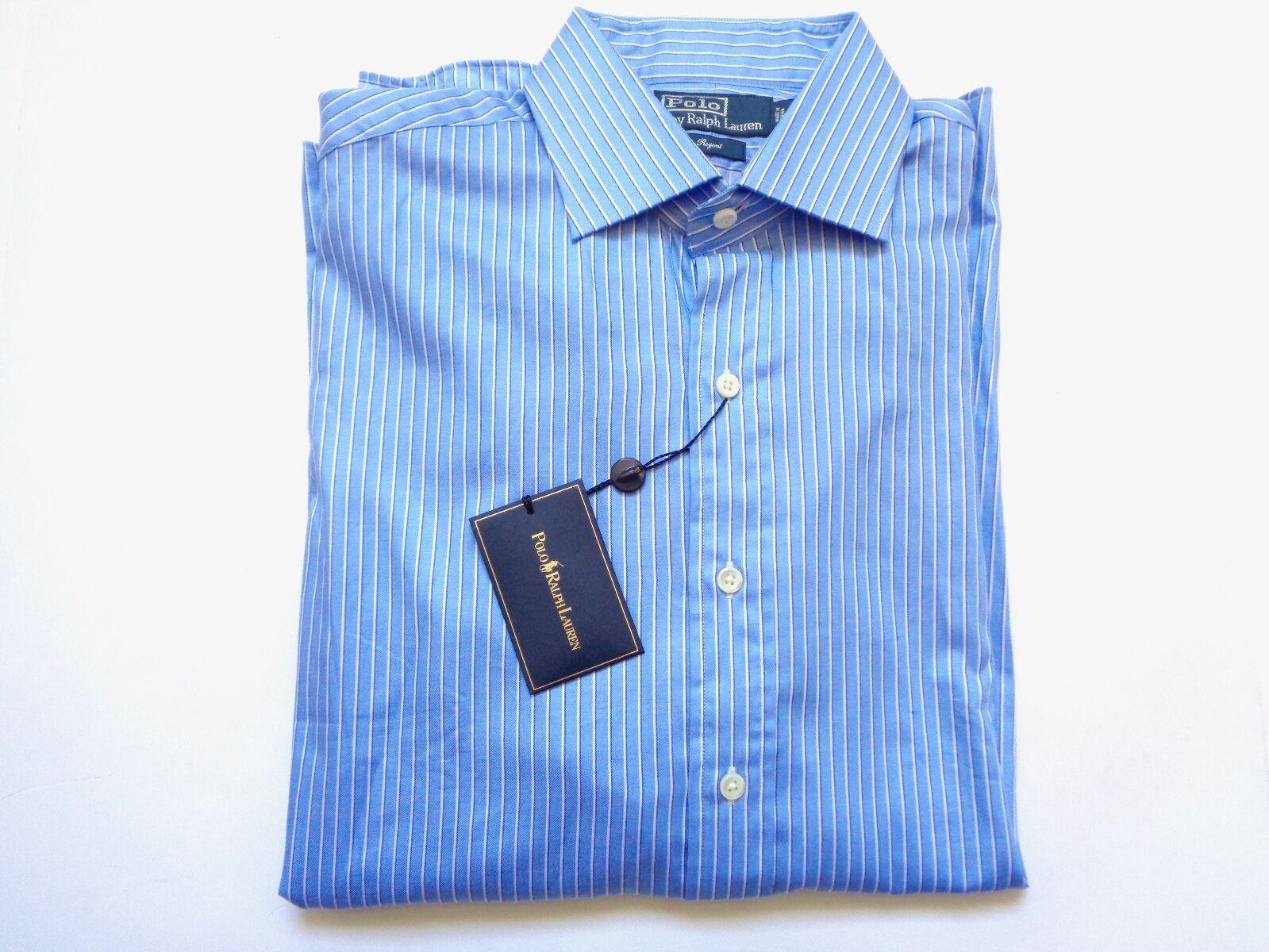 New Ralph Lauren Polo bluee Striped 100% Cotton Button Up Regent Shirt sz 16