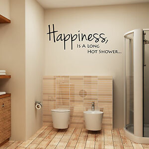 Bathroom Wall Art Sticker Quote Happiness Is A Long Hot Shower Wall