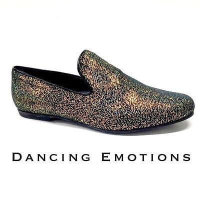 Bello Scarpa Da Ballo Uomo Salsa Latino Tango In Tessuto Multicolor Oro Tacco 1 Cm Corrispondenza A Colori