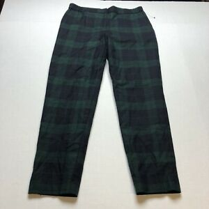Talbots-Sz-6-Blue-Green-Plaid-Straight-Leg-Wool-Blend-Pants-A1333