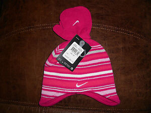 f1f358795aa Image is loading Girls-Toddler-Pink-Nike-Striped-Hat-amp-Mittens-