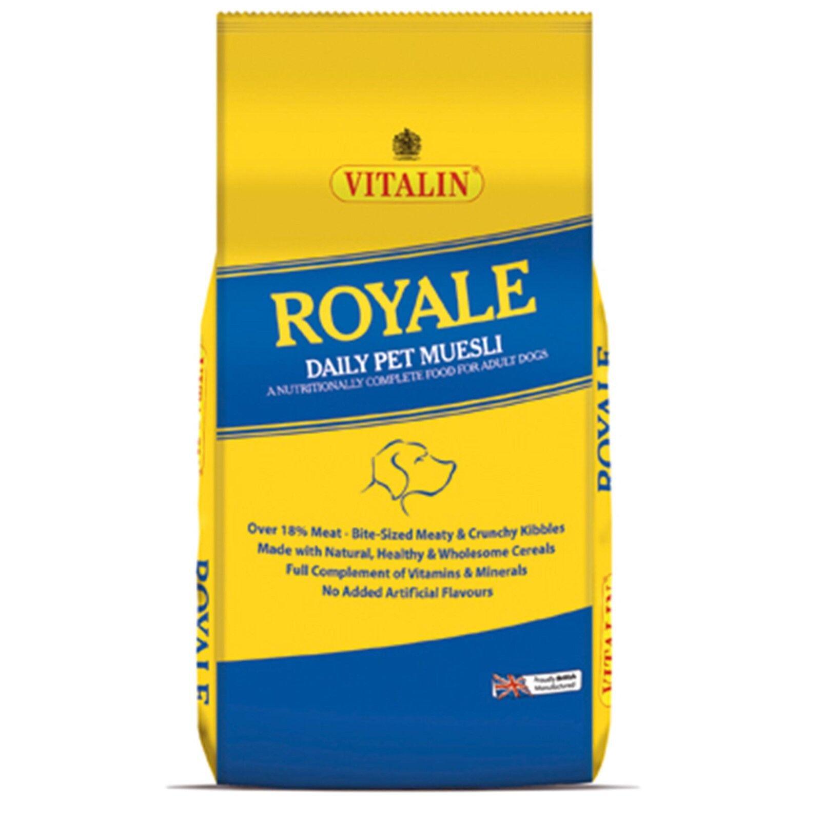 2 x 15kg (30kg) VITALIN ROYALE CRUNCHY MUESLI MIX - COMPLETE DRY MIXED DOG FOOD