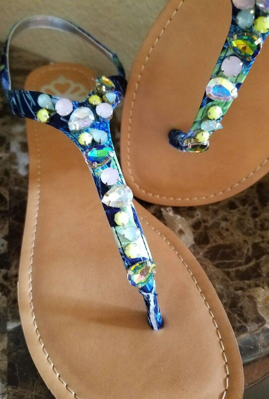 NEW FERGALICIOUS FERGIE blueE JEWELED JEWELED JEWELED WOMENS FLAT SANDALS  size 11 826f6a