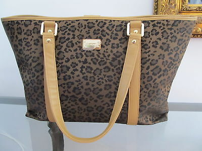 NEW ST JOHN KNIT ANIMAL PRINT XLG TOTE HAND BAG TAN BISCUIT BLACK BROWN