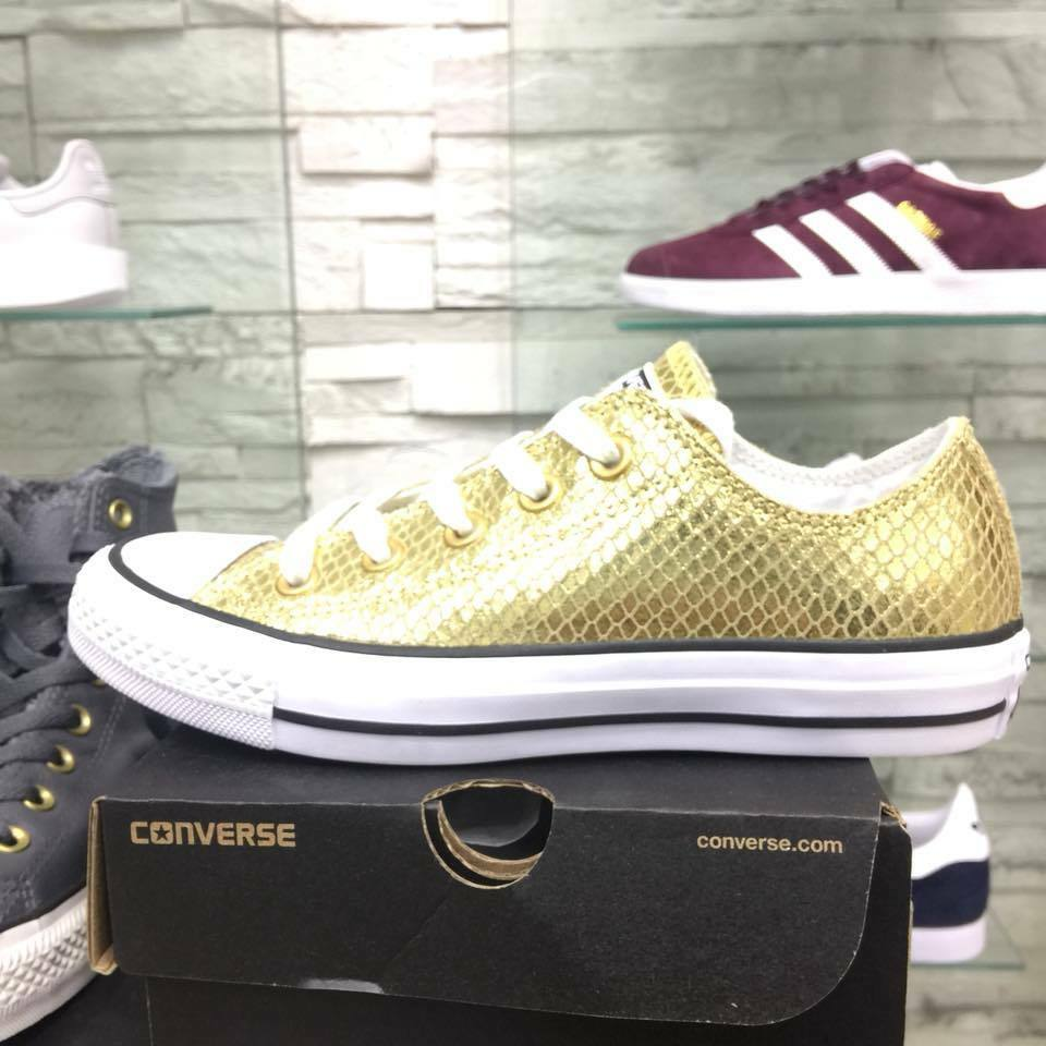 Zapatos  Converse mujer all star basse Oro Oro mujer Converse bambina pelle martellate afc741
