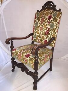 Image Is Loading Antique Carved Victorian Empire Wood High Back Throne