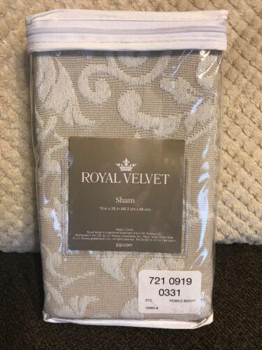 """Royal Velvet Coralie Damask Standard Pillow Sham Pebble Beach 19/""""x26/"""" Sand"""