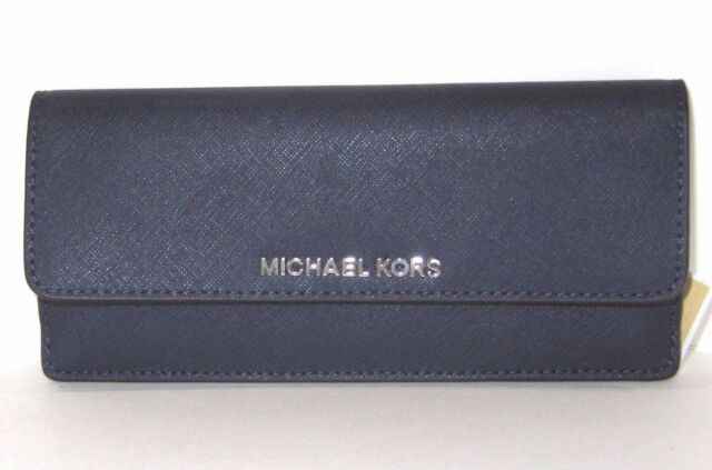 f1bc6567e903 Michael Kors Flat Jet Set Travel Navy   Steel Blue Leather Wallet New NWT   148