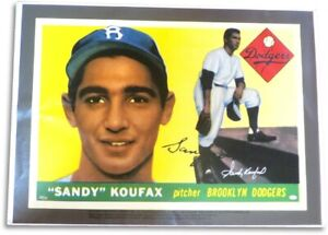 Sandy Koufax Signed Autographed 30X44 Canvas 1955 Topps Rookie Card #/32 JSA