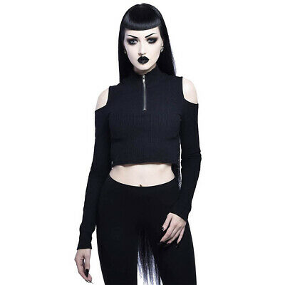 Killstar Gothic Goth Punk Langarm Top Shirt Oberteil Crop Circle Harness