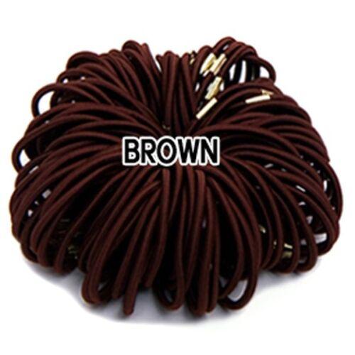 3mm Color Elastic Ponytail Holders w// metal clamp Hair accessories Hair Ties lot