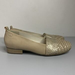 GERRY-WEBER-Gold-Leather-Flat-Shoes-Pumps-Size-4-NEW-RRP-109