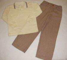 Boys IMP ORIGINALS 2PC Shirt Pants 6 SMALL PAUL Houndstooth Brown Orange Beige