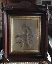 Very old Decorative Wood Picture Frame with applied corners, gold gilded liner