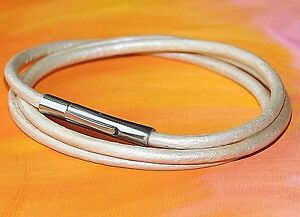 Ladies-3mm-cream-leather-amp-stainless-steel-wrap-around-bracelet-by-Lyme-Bay-Art