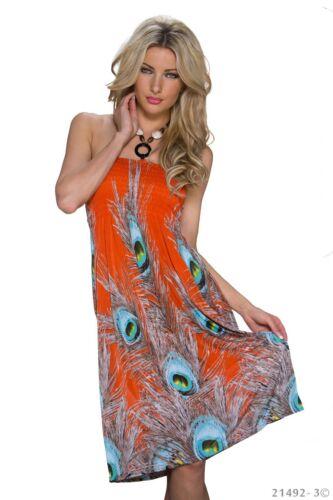 Kleid Bandeau-Form Sommerkleid Strandkleid Geblümt Gr.34//36//38 Orange SALE!