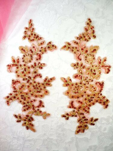 Sequined Venice Lace Appliques Red Gold Floral Bling Mirror Pair Motif DH111