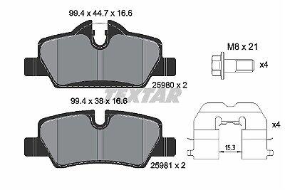 2598001 REAR TEXTAR BRAKE PADS SET KIT