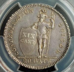 1810-Switzerland-Vaud-Canton-Silver-20-Batzen-Coin-6-590-Struck-PCGS-AU