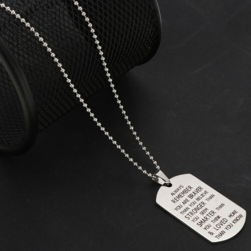 Alaways Remember You Are Braver Stronger Smarter Print Meaningful Tag Necklace