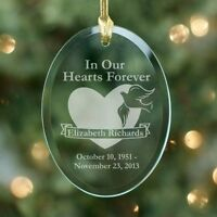 Personalized Glass Memorial Ornament Engraved In Our Hearts Christmas Ornament