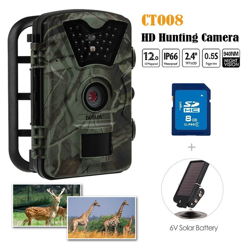 8GB 12MP Hunting Camera Trail Scouting Wildlife IR 24  LEDs+6V Solar Panel R2  best quality best price