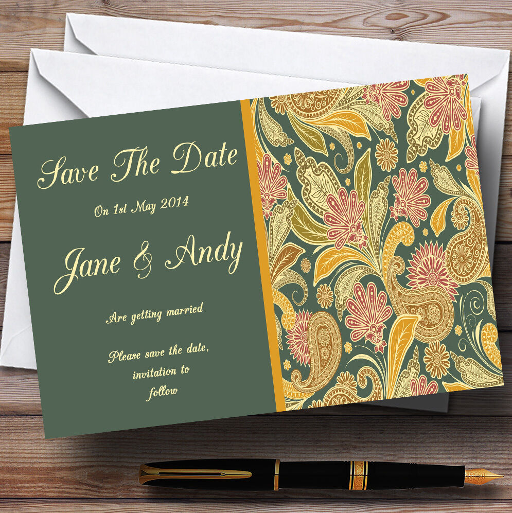Grün Gelb Orange Vintage Personalised Wedding Save The Date Cards