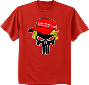 Trump Shirts Donald Trump 2020 MAGA Hat Skull American Flag Mens Graphic Tees