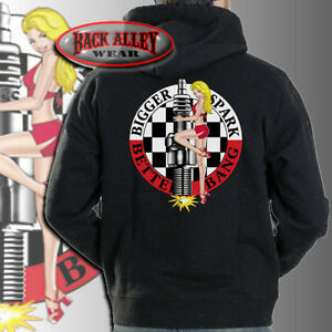Details about Bigger Spark Better Bang HOODIE SWEAT SHIRT 50's Vintage Pin Up Girl Classic Car