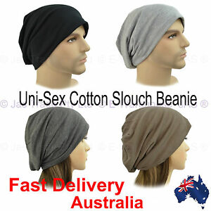 Unisex-Ladies-Men-Slouch-Beret-Plain-Jersey-Baggie-Baggy-Hat-Rasta-Beanie-COTTON