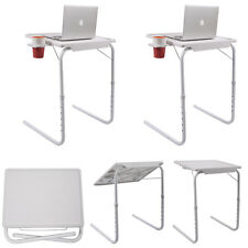 2 Smart Table Mate FoldableTablemate PC TV Laptop Adjustable Tray W/ Cup Holder