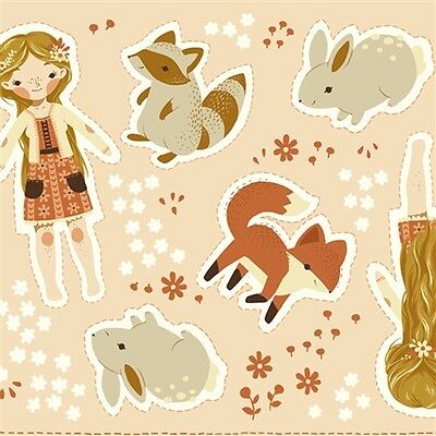 60cm Birch Organic Fabric - Cut and Sew Dolls PER 60cm PANEL Teagan White