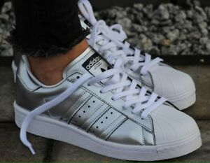 adidas superstar metallic silver ebay