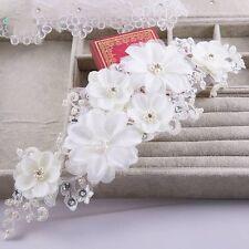 Bridal Piece Handmade Flower Lace Pearl Wedding White Crystal Hijab Wrap Tiara