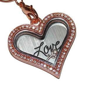 Rose-Gold-Love-Heart-Birthstone-Locket-Heart-Necklace-Floating-Glass-Charm