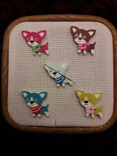 Needle Minder wooden dog Cross Stitch needlework embroidery 12