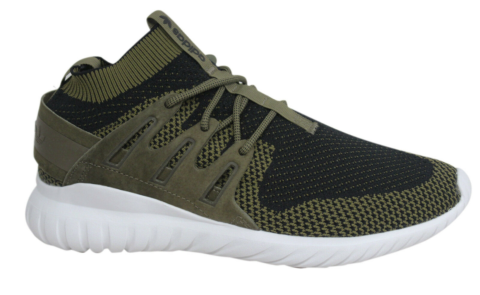 Adidas Tubular Nova PK Lace Up Olive Green Black Sock Mens Trainers S80111 D115