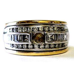 14k yellow white gold .62ct diamond semi mount engagement wedding ring 12.5g